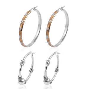 Black Oxidized, ION Plated YG and Stainless Steel Set of 2 Hoop Earrings