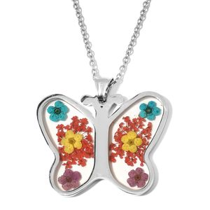 Flower Petal Chroma Stainless Steel Butterfly Pendant With Chain (20 in)