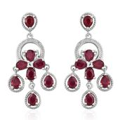 Niassa Ruby, White Topaz Platinum Over Sterling Silver Earrings TGW 6.68 cts.