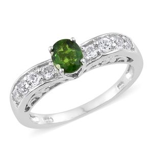 Russian Diopside, White Topaz Platinum Over Sterling Silver Ring (Size 5.0) TGW 1.39 cts.