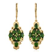 Russian Diopside Vermeil YG Over Sterling Silver Earrings TGW 4.44 cts.