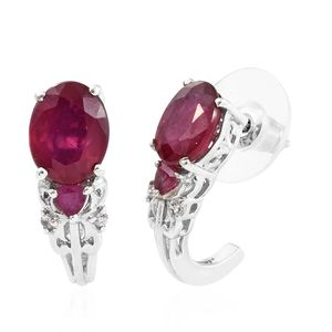 Niassa Ruby, Cambodian Zircon Platinum Over Sterling Silver J-Hoop Earrings TGW 5.60 cts.