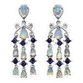 Ethiopian Welo Opal, Catalina Iolite Platinum Over Sterling Silver Chandelier Earrings TGW 4.30 cts.