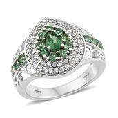 Emeraldine Apatite, Cambodian Zircon Platinum Over Sterling Silver Ring (Size 6.0) TGW 1.90 cts.