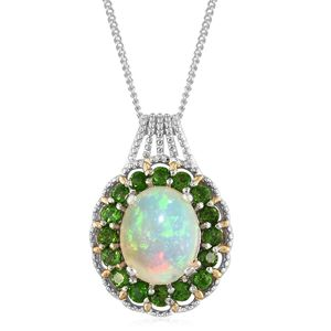 Ethiopian Welo Opal, Russian Diopside 14K YG and Platinum Over Sterling Silver Pendant With Chain (20 in) TGW 3.20 cts.