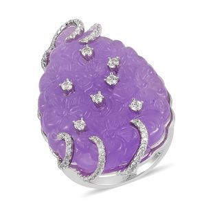 Burmese Purple Jade, White Zircon Sterling Silver Floral Carved Ring (Size 6.0) TGW 40.55 cts.