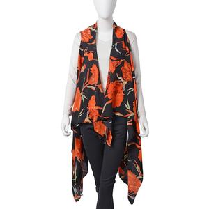 Black with Orange Floral Printed 100% Polyester Spring Kimono (57.08x51.19 in)
