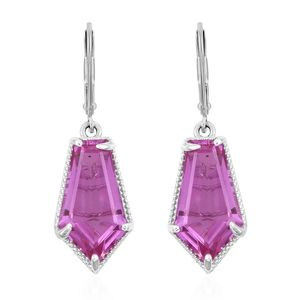 African Lilac Quartz Platinum Over Sterling Silver Lever Back Earrings TGW 18.70 cts.