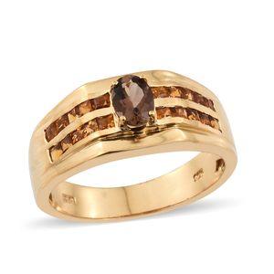 Mocha Scapolite, Santa Ana Madeira Citrine Vermeil YG Over Sterling Silver Men's Ring (Size 12.0) TGW 1.75 cts.