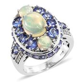 Ethiopian Welo Opal, Multi Gemstone Platinum Over Sterling Silver Ring (Size 7.0) TGW 5.79 cts.