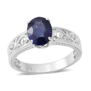 Masoala Sapphire Sterling Silver Openwork Solitaire Ring (Size 7.0) TGW 3.70 cts.