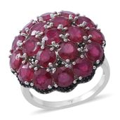 Niassa Ruby, Thai Black Spinel Sterling Silver Cocktail Cluster Ring (Size 7.0) TGW 9.72 cts.