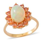 Ethiopian Welo Opal, Dark Orange Sapphire Yellow Rhodium Over Sterling Silver Ring (Size 7.0) TGW 4.00 cts.