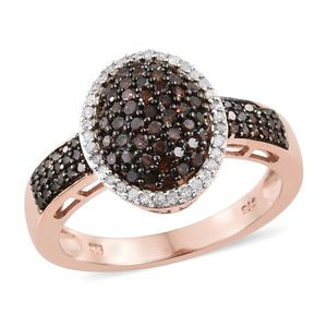 Red Diamond (IR), Diamond Black Rhodium & Vermeil RG Over Sterling Silver Cluster Ring (Size 8.0) TDiaWt 0.75 cts, TGW 0.75 cts.