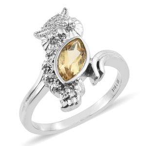 Brazilian Citrine Stainless Steel Owl Bypass Ring (Size 7.0) TGW 1.00 cts.