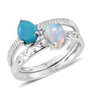 Ethiopian Welo Opal, Arizona Sleeping Beauty Turquoise Platinum Over Sterling Silver Set of 2 Ring (Size 10.0) TGW 1.75 cts.