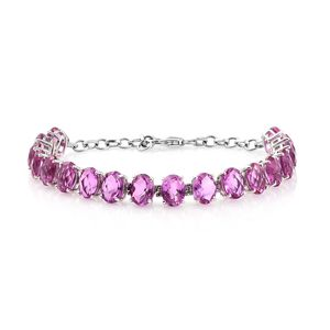 African Lilac Quartz Platinum Over Sterling Silver Bracelet (7.50 In) TGW 23.82 cts.
