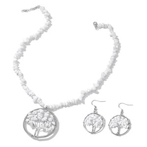 White Ceramic Copper & Stainless Steel Tree Earrings and Necklace (18-20 in) TGW 210.50 cts.