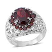 Mozambique Garnet Sterling Silver Ring (Size 7.0) TGW 9.05 cts.