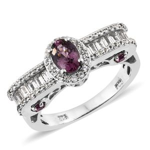Burmese Lavender Spinel, White Topaz, Purple Garnet Platinum Over Sterling Silver Royal Ring (Size 7.0) TGW 1.97 cts.