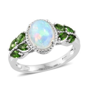 Ethiopian Welo Opal, Russian Diopside Platinum Over Sterling Silver Ring (Size 6.0) TGW 2.53 cts.