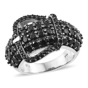 Thai Black Spinel Black Rhodium & Platinum Over Sterling Silver Buckle Ring (Size 10.0) TGW 5.75 cts.