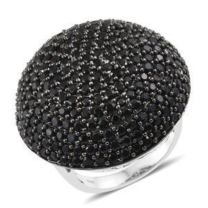 Thai Black Spinel Platinum Over Sterling Silver Ring (Size 5.0) TGW 11.00 cts.