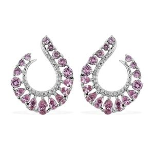 Simulated Pink Sappire Stainless Steel Hoop Earrings TGW 9.20 cts.