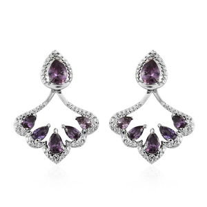 Simulated Purple Diamond Stainless Steel Earrings TGW 5.45 cts.