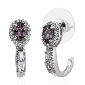 Burmese Lavender Spinel, White Topaz Platinum Over Sterling Silver J-Hoop Earrings TGW 1.53 cts.