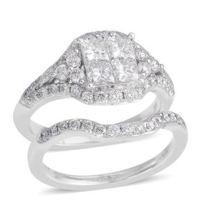 14K WG Diamond (H SI1) Ring Set (Size 7.0) TDiaWt 1.70 cts, TGW 1.70 cts.