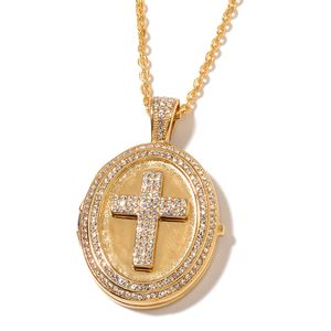White Austrian Crystal ION Plated YG Stainless Steel Pendant With Chain (20 in) TGW 1.89 cts.
