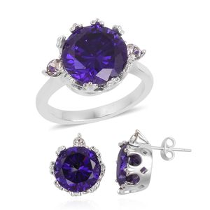 Simulated Amethyst, Austrian Crystal Stainless Steel Earrings and Ring (Size 8) TGW 4.60 cts.