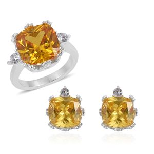 Simulated Golden Diamond, White Austrian Crystal Stainless Steel Earrings and Ring (Size 10) TGW 4.60 cts.
