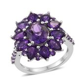 Lusaka Amethyst Platinum Over Sterling Silver Ring (Size 7.0) TGW 7.20 cts.