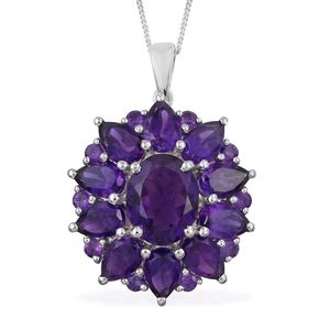 Lusaka Amethyst Platinum Over Sterling Silver Pendant With Chain (20 in) TGW 6.34 cts.