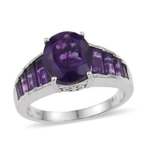 Lusaka Amethyst Platinum Over Sterling Silver Ring (Size 8.0) TGW 6.61 cts.