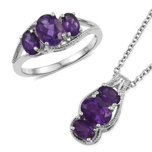 Lusaka Amethyst Platinum Bond Brass Ring (Size 5) and Pendant With Stainless Steel Chain (20 in) TGW 4.04 cts.