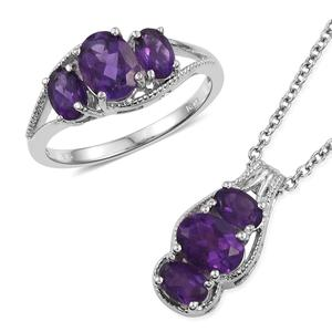Lusaka Amethyst Platinum Bond Brass Ring (Size 8) and Pendant With Stainless Steel Chain (20 in) TGW 4.04 cts.
