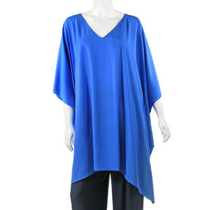 Blue Beach Cover up Rayon Poncho (One Size)