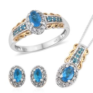 Malgache Neon Apatite, Cambodian Zircon 14K YG and Platinum Over Sterling Silver Ring (Size 5), Halo Stud Earrings and Pendant With Chain (20 in) TGW 2.34 cts.