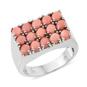 Oregon Peach Opal Platinum Over Sterling Silver Men's Ring (Size 13.0) TGW 4.05 cts.