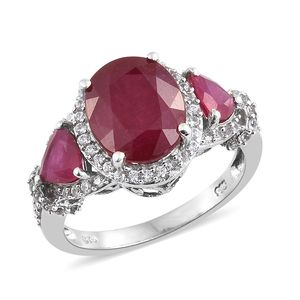 Niassa Ruby, Cambodian Zircon Platinum Over Sterling Silver Ring (Size 7.0) TGW 9.71 cts.