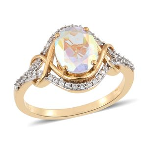 Mercury Mystic Topaz, Cambodian Zircon Vermeil YG Over Sterling Silver Ring (Size 8.0) TGW 4.00 cts.