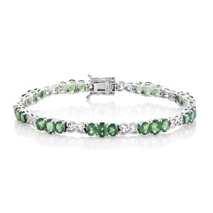 Emeraldine Apatite Platinum Over Sterling Silver Linked Heart Bracelet (7.50 In) TGW 11.50 cts.