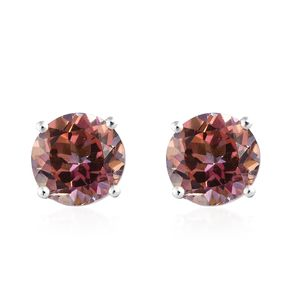 Northern Lights Twilight Topaz Platinum Over Sterling Silver Stud Earrings TGW 4.86 cts.