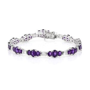 Lusaka Amethyst, White Topaz Platinum Over Sterling Silver Bracelet (8.00 In) TGW 16.59 cts.