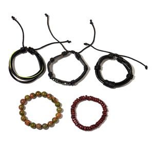 Set of 5 Unakite, Wooden Beads, Faux Leather Silvertone Motorcycle Bracelets (Stretchable & Adjustable) TGW 182.00 cts.