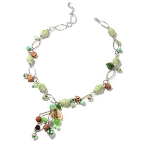 Green Ceramic, Multi Gemstone Silvertone Necklace (28 in) TGW 580.00 cts.