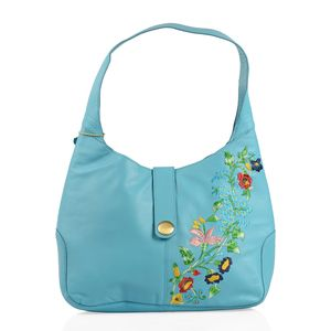Turquoise Embroidered Genuine Leather RFID Hobo Bag (16x3.5x12 in)
